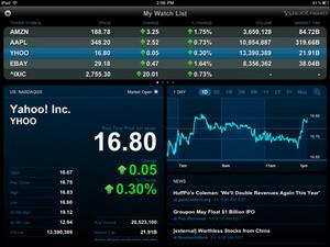 Yahoo! MarketDash Finance App for iPad released