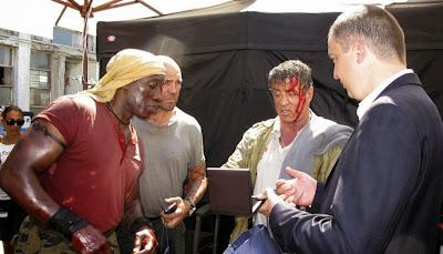 En el rodaje de Los Mercenarios 3