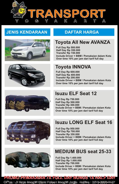 gambar dari daftar harga sewa mobil elf dan bus wisata di jogja
