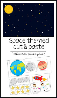 Free printable space themed cut and paste strips #cuttingstrips, #practicallife, #montessori, #preschoolactivities, #toddleractivities