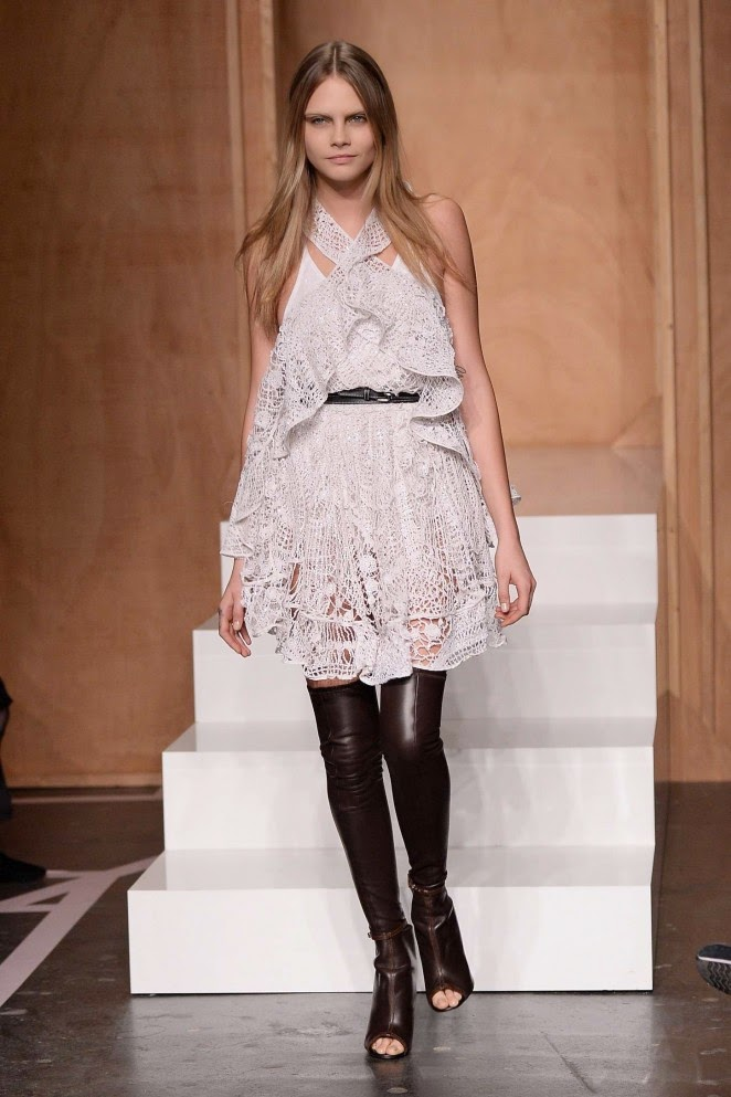 Cara Delevingne walks the Givenchy Spring/Summer 2015 Paris Fashion Week Show in a crochet mini dress