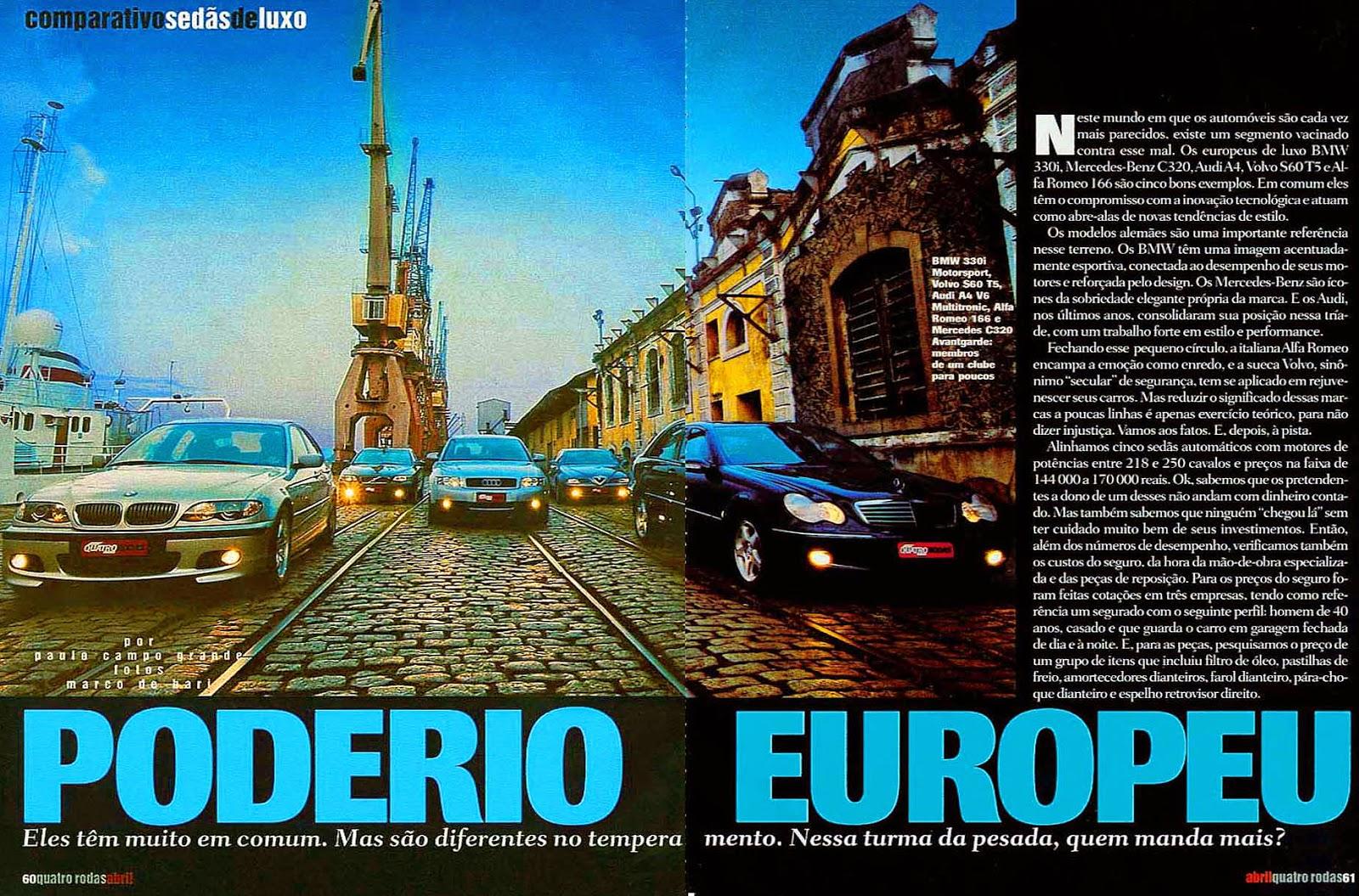 (W203): Avaliação - Revista Quatro Rodas - C320 x BMW 330i x Audi A4 x Volvo S60 T5 x Alfa Romeo 166 - abril/2002 501%2C061%2C42%2C04%2CTE