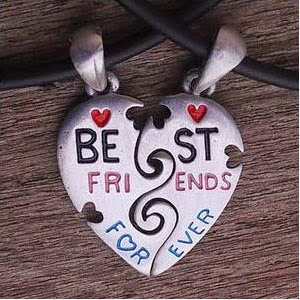 nice best friends pendant, twin neck chains gift on friendship day to your close friend