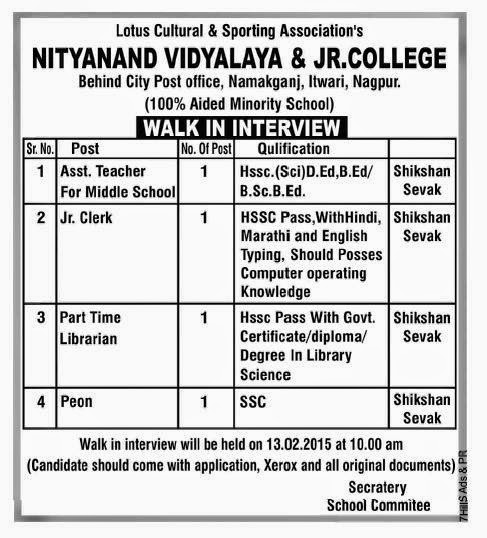 Jobs in Nityanand Vidyalaya and Jr. College,Feb-2015