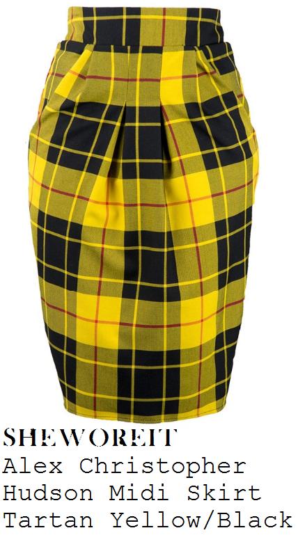 chloe-sims-yellow-black-and-red-tartan-print-high-waisted-tailored-midi-pencil-skirt