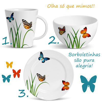 porcelana com borboletas