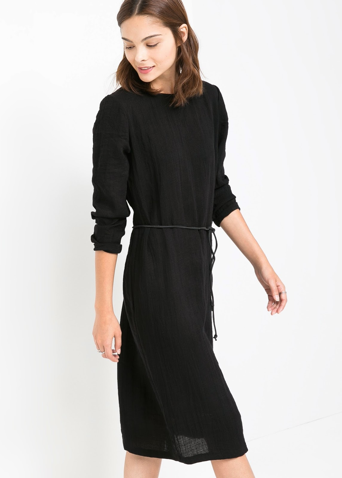 mango black waist dress