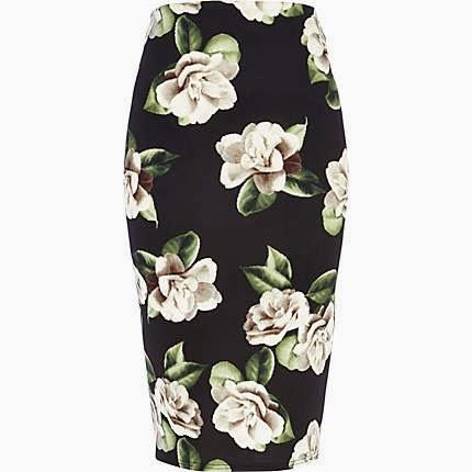 black white flower skirt
