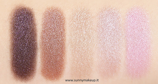 Swatch Pupa - Soft & Wild. Collezione autunnale 2015. Soft & Wild Vamp! Wet & Dry Eyeshadow. Da sinistra verso destra, le colorazioni: 001 Golden Mauve, 002 Warm Brown, 003 Chic Gold, 004 Golden Rose, 005 Glam Pink. (Bagnati)