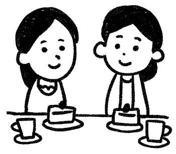 女子会のイラスト(パーティ) 白黒線画