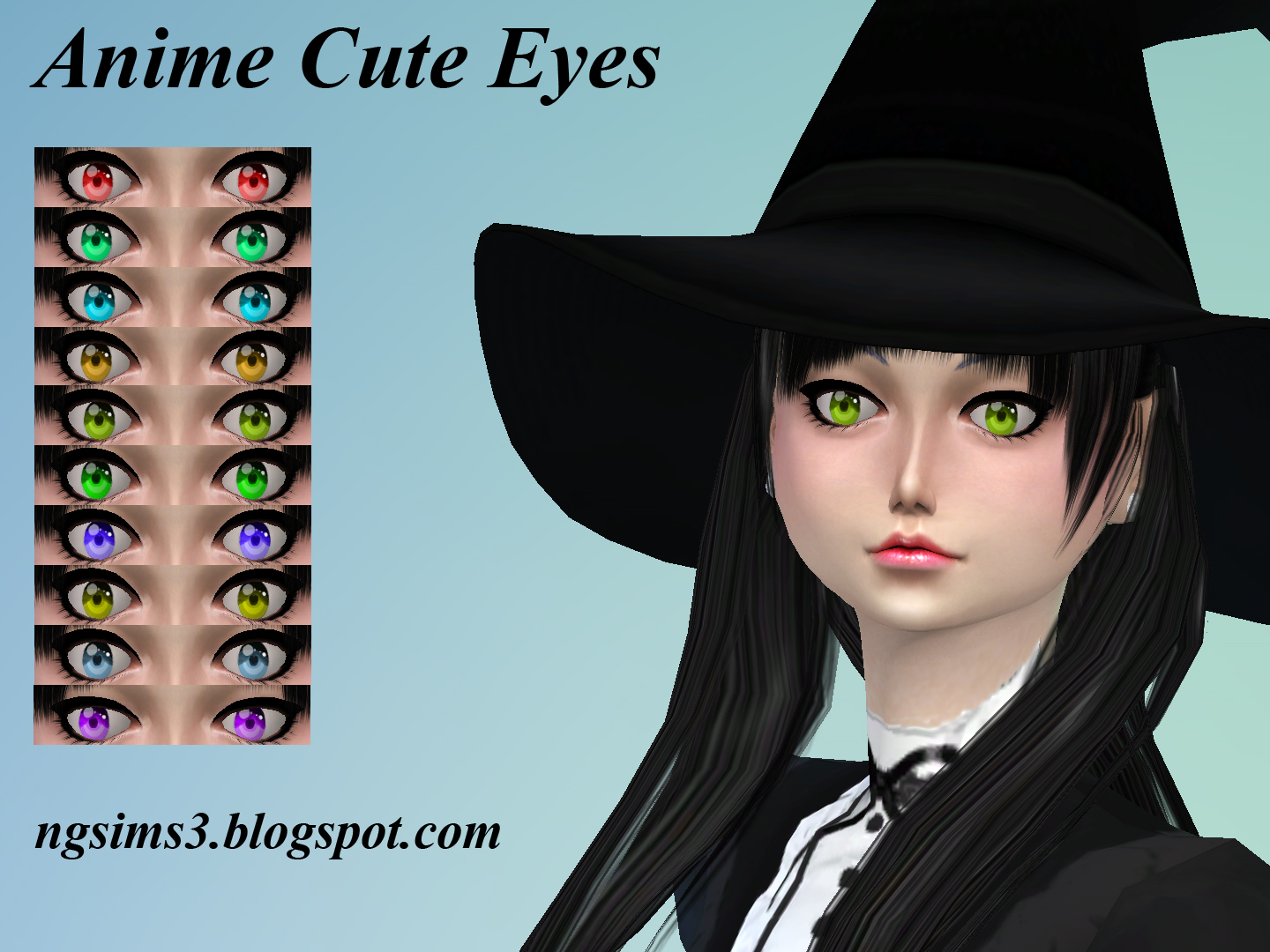 Sims 4 Anime Characters Mod : My sims anime cute eyes by ngsims