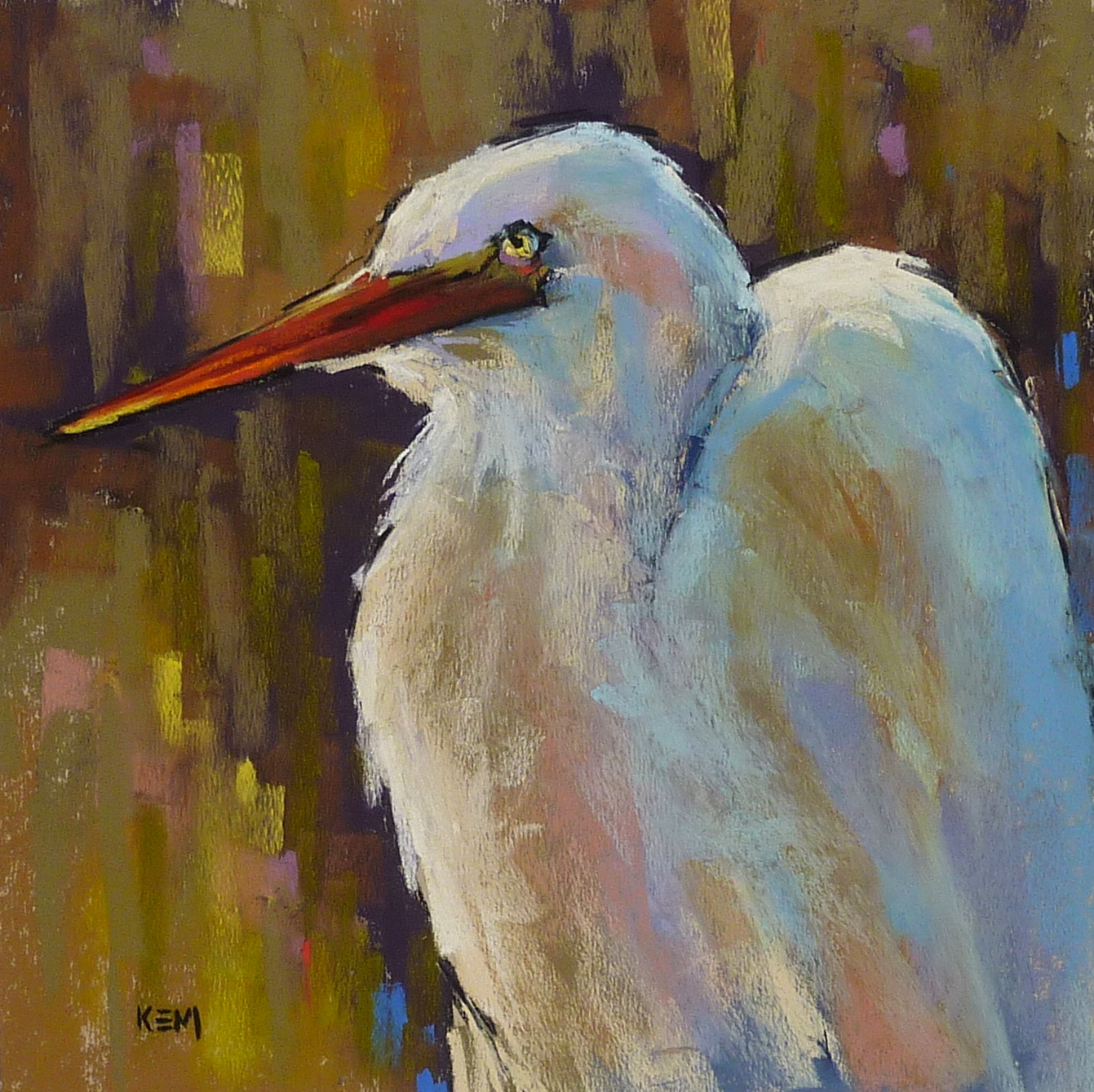 Painting my world pastel demo great white egret in the for White heron paint