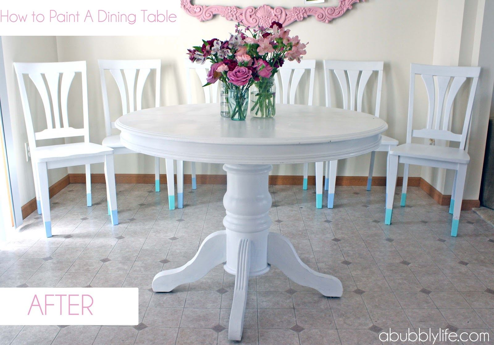 a bubbly life how to paint a dining room table chairs makeover - Colorful Dining Room Tables