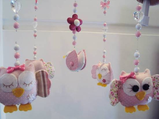 lily baby shop mobile de corujinhas passarinhos e flores. Black Bedroom Furniture Sets. Home Design Ideas