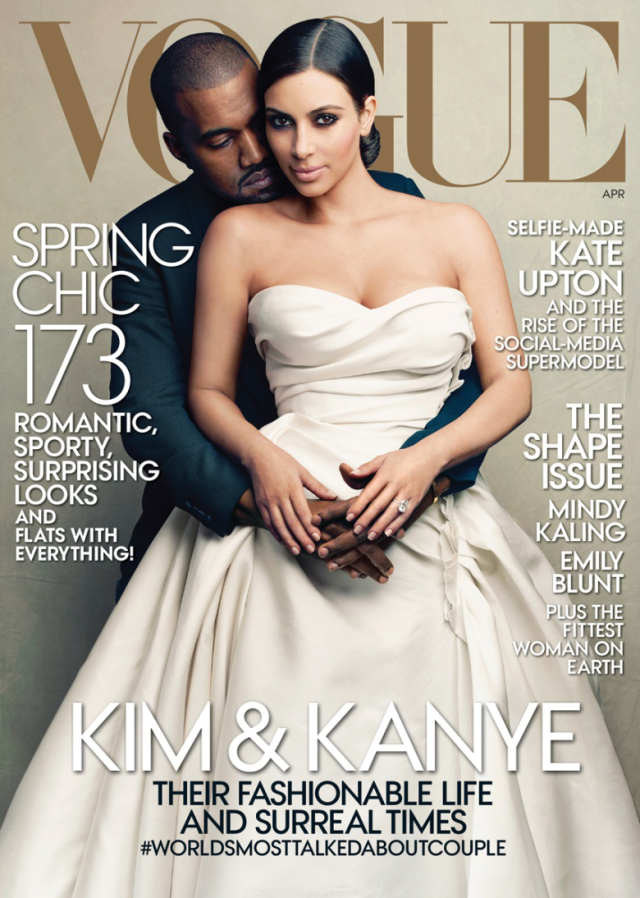 Kim Kardashian y Kanye West en portada de la revista Vogue abril 2014