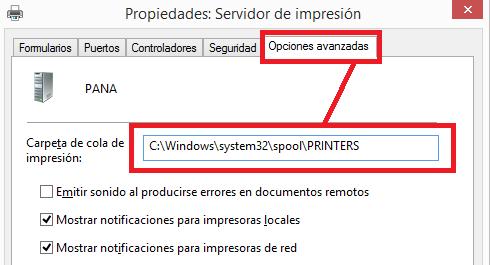 Propiedades del servidor de impresión, ruta cola