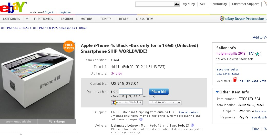 mcbrooklyn: iPhone Box Selling for $15,098 on eBay