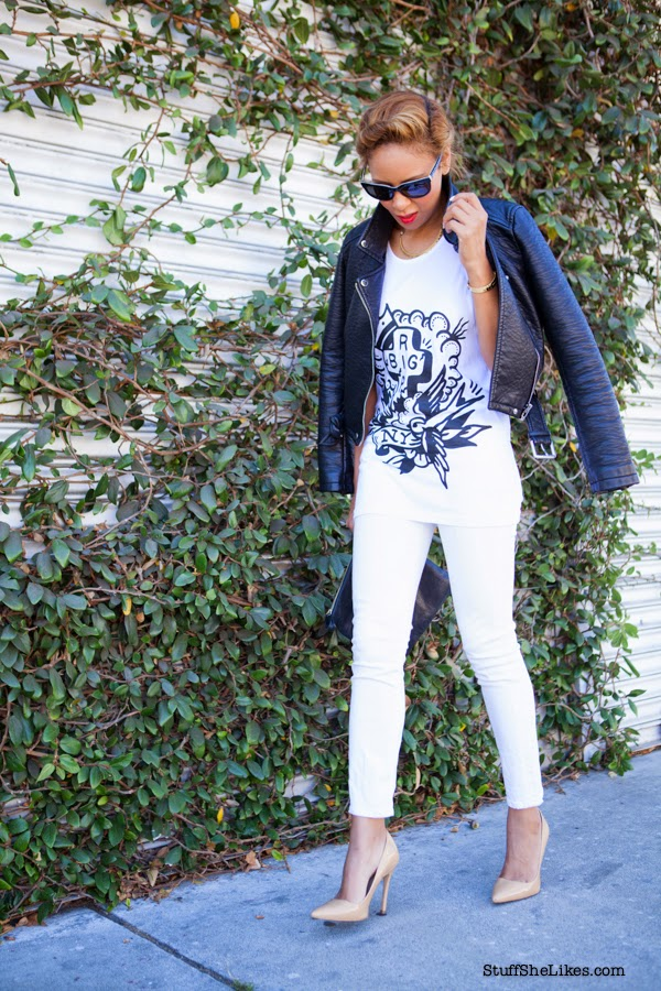 white on white, citizens of humaity jeans, topshop nude pumps, vegan leather jacket, top blogger, Los Angeles fashion blogger, Taye Hansberry, Top fashion blogger, Style blogger