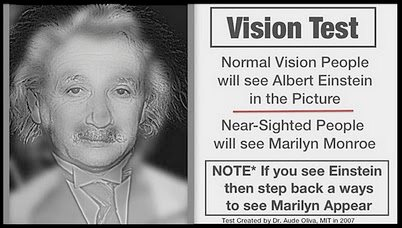 Vision Test - Normal people will see Albert Einstein in the picture. Near-sighted  people will see Marilyn Monroe.