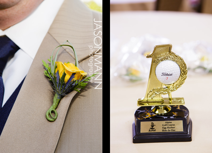 Jason Mann Photography - Door County Wedding Boutineer and Golf Trophy