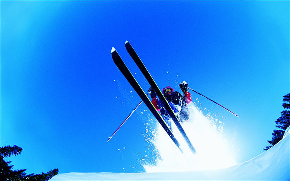 Ski and Sky Adventure Wallpaper