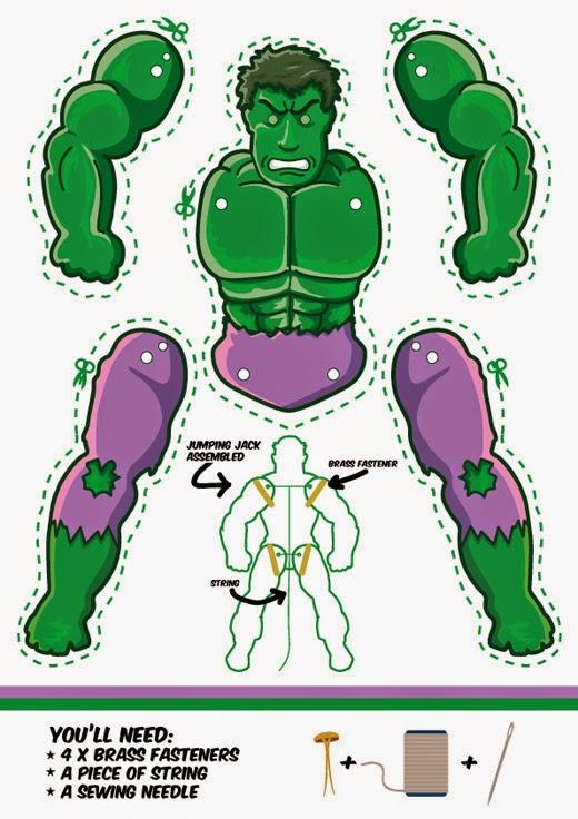 Hulk movible para Imprimir Gratis.