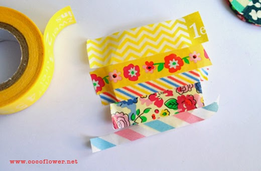 DIY WASHI TAPE BROOCH - Cover your form with various adhesive tape Washi. COCOFLOWER.NET