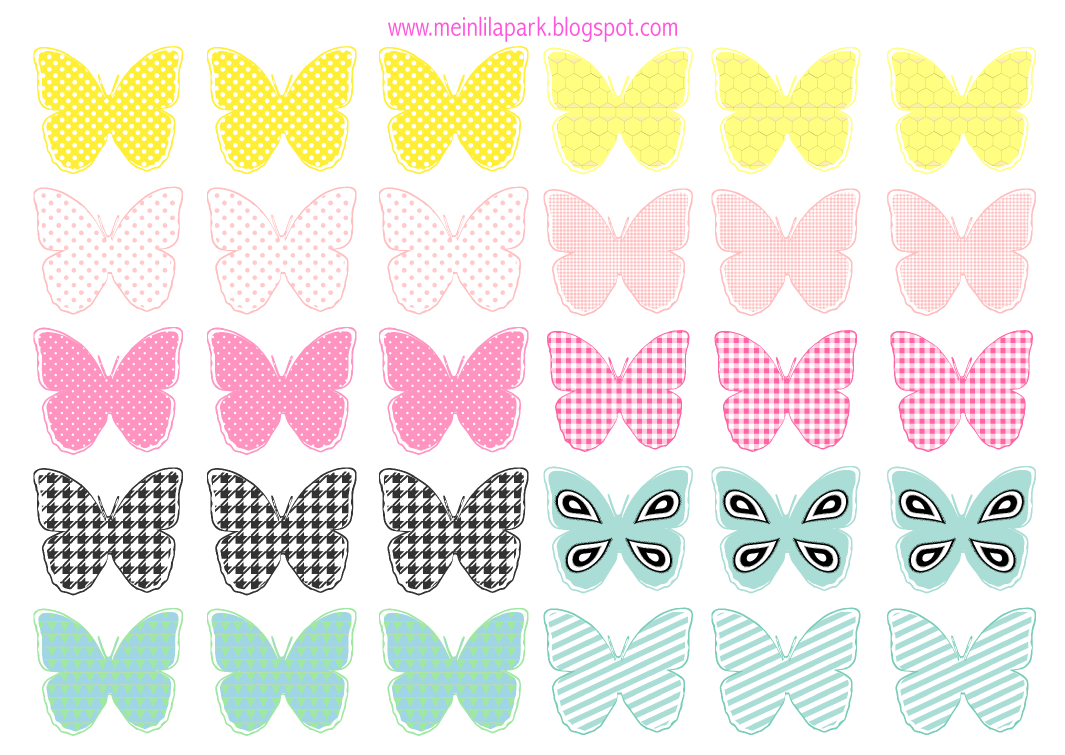 free printable pastel colored butterflies schmetterling