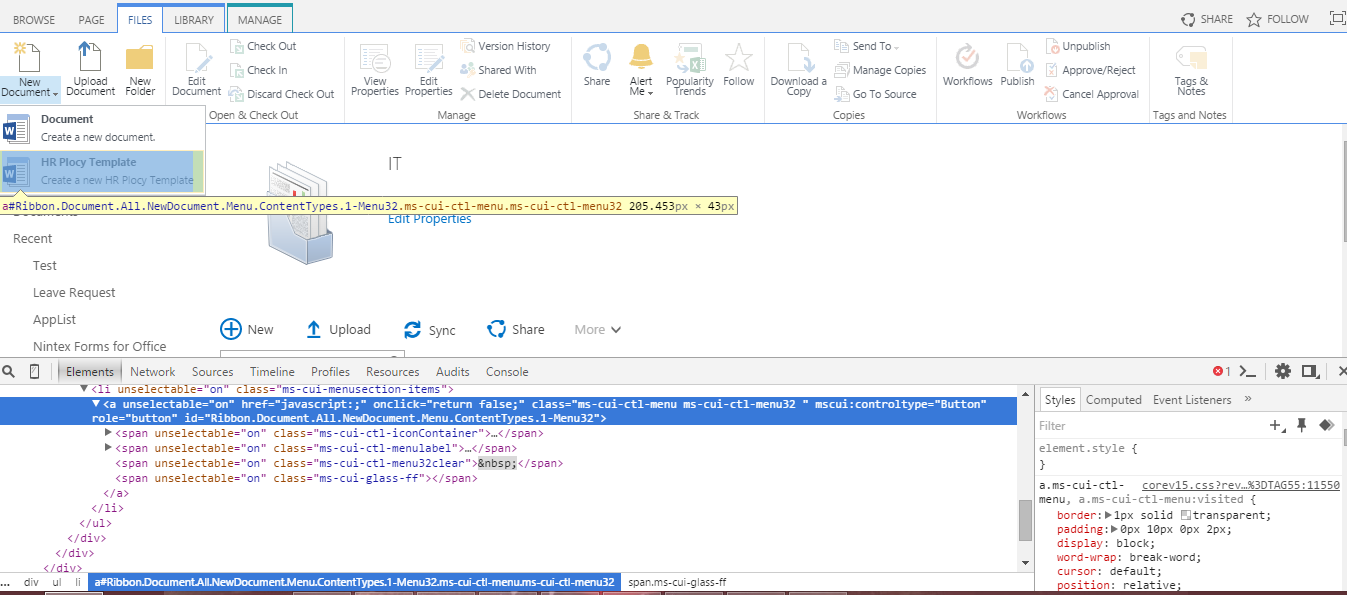 Sharepoint notes hide the content types based on document for Document library name sharepoint