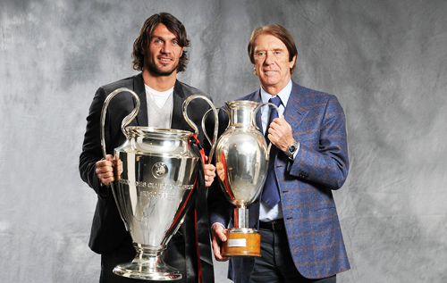 Paolo and Cecare Maldini with UCL trophies
