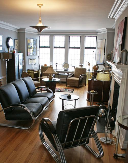 Stahlrohr-Sessel und -Sofa im Bauhaus bzw. Streamline Art Deco Stil