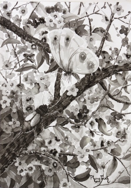 Beautiful  Black White Gray, watercolor on paper, 42x29.5cm