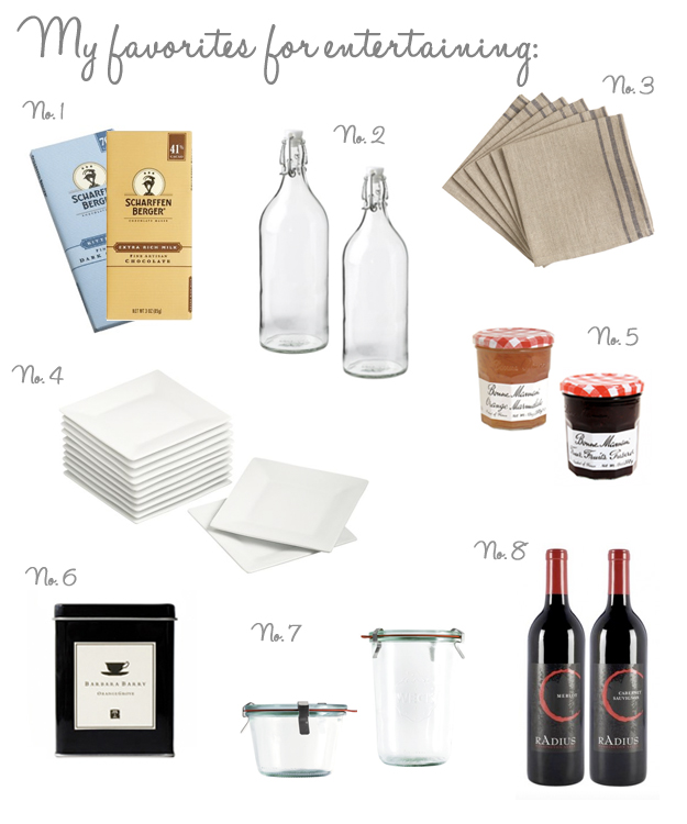 favorites items for entertaining