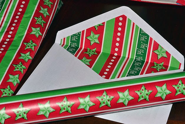 wrapping paper used as liner for holiday cards