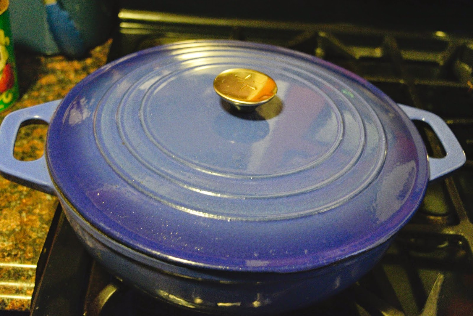 The sauce pot, with the lid on it, over medium/low heat.