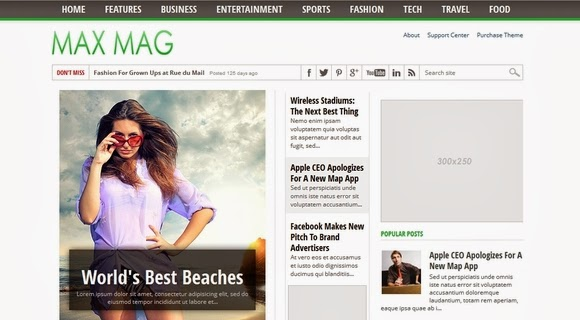 max mug magazine blogger template download for blogspot with social book marks and ads ready