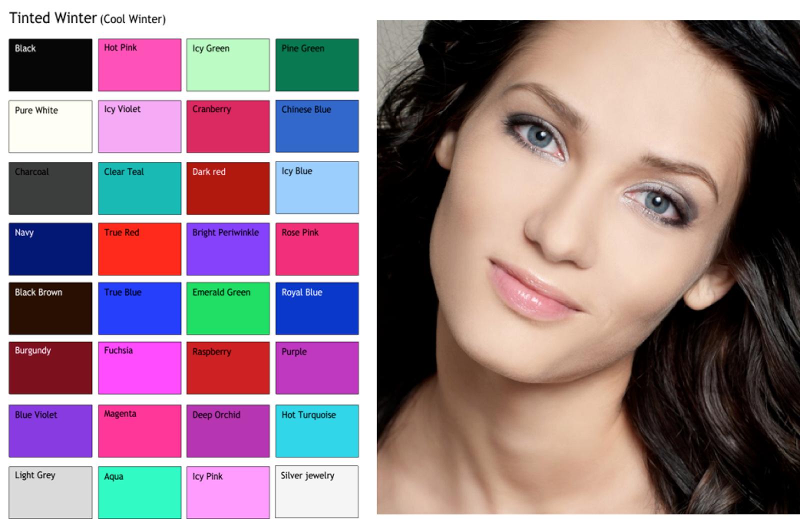 Цветотип внешности зима картинки цветовой фон