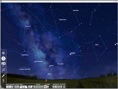 Stellarium program finds the Milky Way, night time Photography