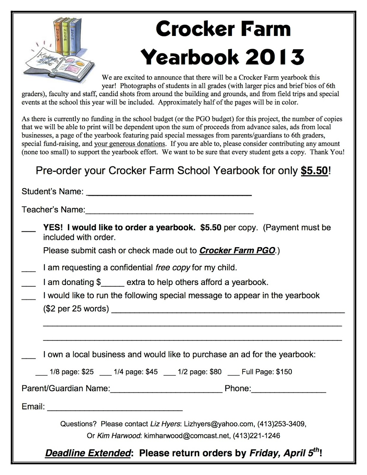 Crocker Farm PGO: Yearbook ORDER FORMS coming home in ...