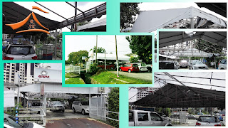 Custom A Shape Canopy Canvas 31' x 31' - Client have requested to change the current canvas to a new one. The client's business nature will be use car / refinance car which located near by Ampang Point.