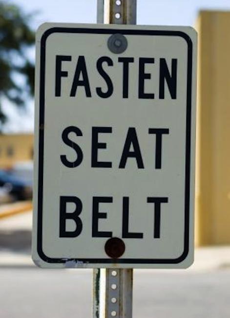 buckle up, fasten seat belt road sign