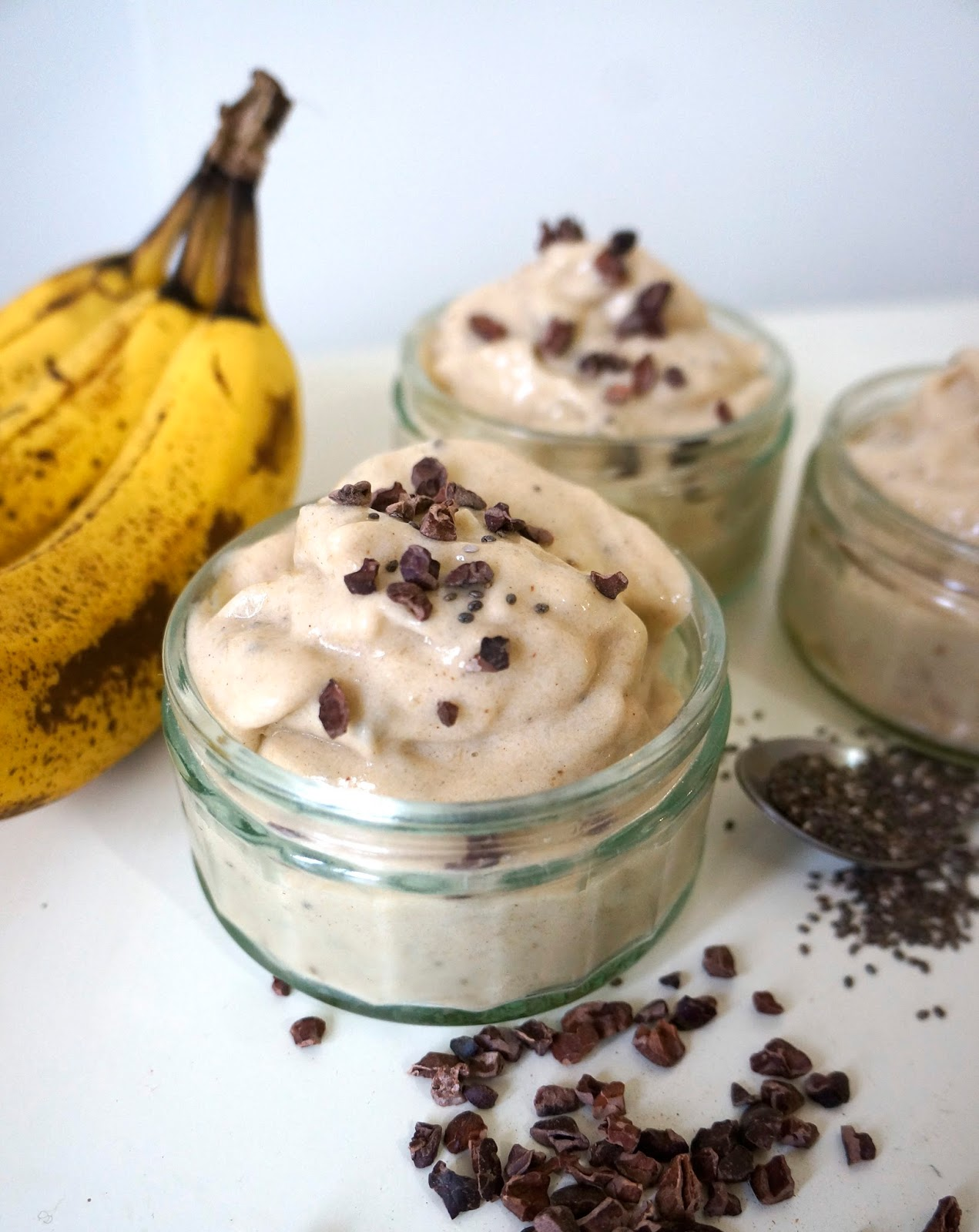 Chia seed banana ice cream the latina cook of frozen banana chia seeds cinnamon and honey takes just minutes whiz up in a blender or food processor and makes the best tasting nice cream ever ccuart Image collections