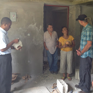 Mark with three others Inside a classroom at the new school in Oranges de Bainet, Haiti