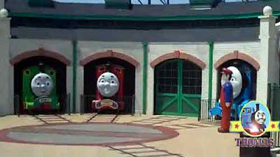 Gordon the big express James the red engine Percy and Thomas the train characters at Six flags DC
