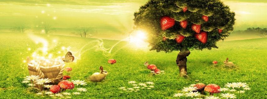 Çilek ağacı ve kırmızı mantarlar kapak resimleri