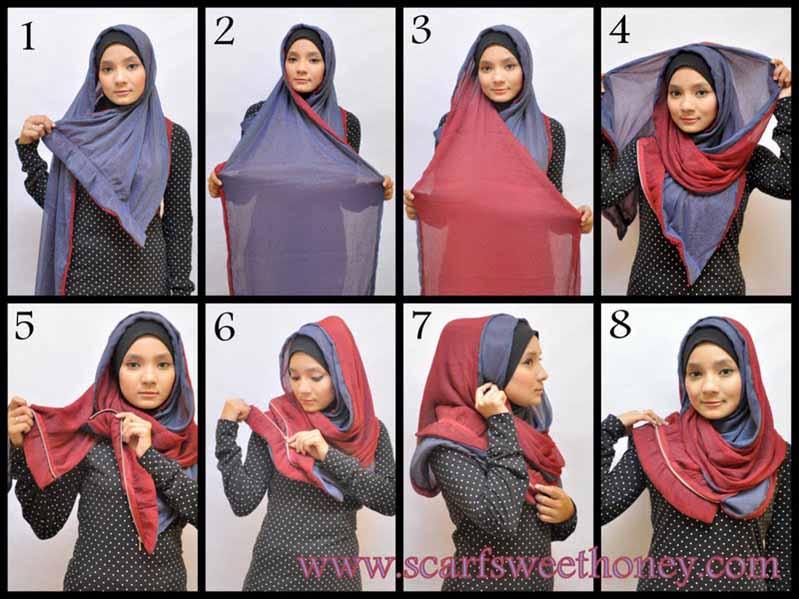 Cara memakai jilbab 2 warna