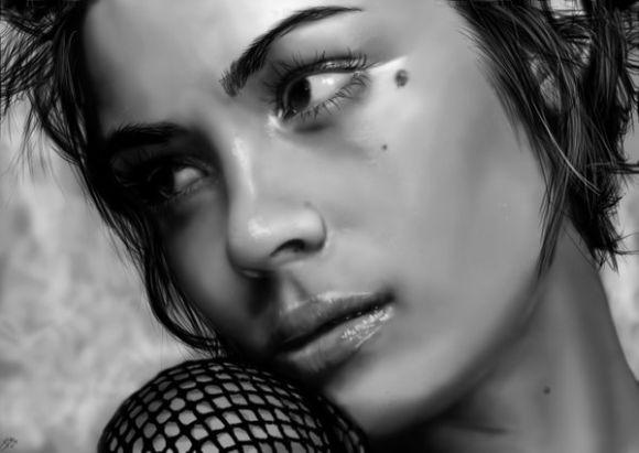 Innes McDougall pinturas digitais realistas fotografias modelos mulheres atrizes preto e branco Shannyn Sossamon