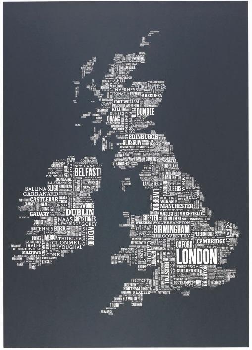 карта Великобритании в виде названий городов