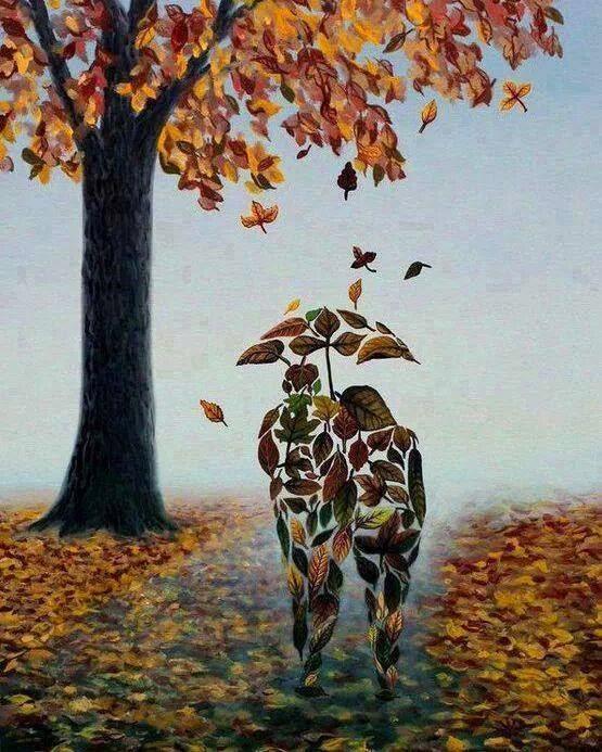 Cuadro de la silueta de una pareja en caminando en lo que parece una vereda de un parque, pero todas las siluetas están hechas con hojas de otoño