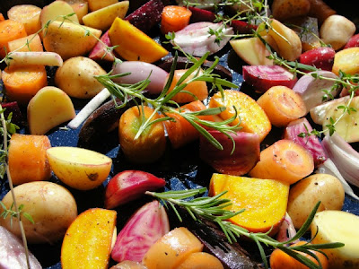 beets, carrots, potatoes and herbs